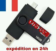 2 en 1 Clé USB 16 Go OTG 2.0 MICRO USB Memory Stick Flash Pen Drive 16 Gb