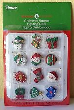 "Miniature Dollhouse Mini CHRISTMAS Tree ~ 12 Asst 1"" Glitter Ornaments w Snowman"