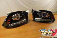 2013-2014 Pair Of Dodge Ram 1500 2500 3500 Black Projector Headlights Mopar OEM