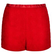 TOPSHOP RED FLORAL LACE CROCHET HIGH WAISTED SHORTS 10 38 6!