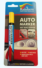 YELLOW AUTO MARKER PEN - WATERPROOF, WET WIPE REMOVABLE, WINDSCREENS AND PANELS