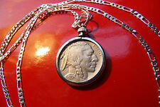 CLASSIC 1936 Buffalo Indian Head Nickel on a 925 Sterling Silver Chain
