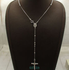"3mm 18"" Italian Rosary Cross Chain Necklace Real Anti-Tarnish Sterling Silver"