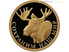 50 Rubel Save our World Elch Elk Moose Russland 1/4 oz Gold PP 2015