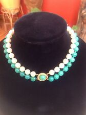 Vintage Ciner 2 Strand Peking Green Glass and Faux Glass Pearl Necklace