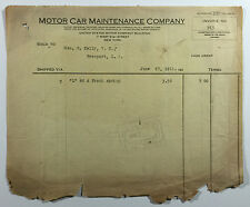 Vintage Billhead, Motor Car Maintenance Company, New York City, 1911