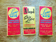 (3) Different 1930s House of Lano Alsyo Skin Lotion Product Labels MN Unused