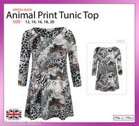 Ladies Animal Print Women Tunic Top With Three Quarter Sleeves Plus Sizes 12-20