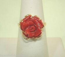 14k Yellow Gold 11.04Cts Carved Naples Italian Red Coral Rose Flower Ring 7.0