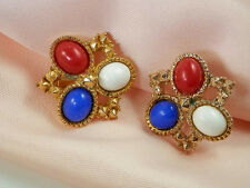 Super Showy Vintage Sarah Cov. Red White & Blue Thermoset Earrings  51C
