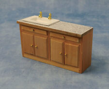 Long Sink Unit Dolls House Miniature Kitchen Furniture, Washing Up 1/12 scale