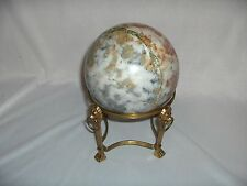 "Beautiful Jasper Agate Crystal Red Veins Sphere Orb Ball 5"" Brass Stand 7 lb"