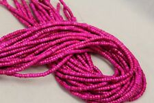 """2 Strands Set of 4x2mm Hot Pink Turquoise Heishi Beads 15.5"""" Strand"""