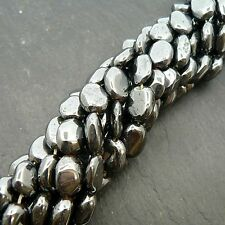 "Hematite Plain Oval Beads 15"" Strand Semi Precious Gemstone"