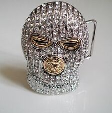 Silver/Gold Finish HIP HOP Iced Out Goon Ski Mask Belt Buckle