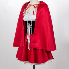 S-4XL Plus Size Ladies Red Riding Hood Fancy Dress Halloween Cosplay Costume