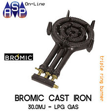 BROMIC CAST IRON TRIPLE RING BURNER COOKER BBQ LPG - 30MJ PER HOUR - PART# RB40