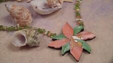 Lee Sands QVC Necklace, Tiger Lily Inlay set with Genuine Peridot Beads