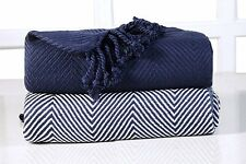 EHC Luxury Chevron Cotton Single Sofa Throw Blanket, Navy Blue, 125 x 150 cm, Pa