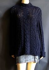 Ralph Lauren XL NEW Dark Indigo Blue Cabled Chunky Turtleneck Sweater