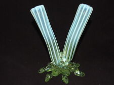 Victorian Walsh Walsh Uranium Opalescent Glass Twin Posy Vase