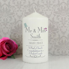 Personalised Decorative Wedding Mr & Mrs Candle Gift Idea For Bride And Groom