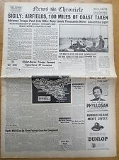 WW2 Newspaper July 12 1943 Sicily Landings News Chronicle Wartime WAR Birthday