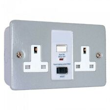 2 Gang Metal Clad Rcd Socket Double Twin 13a Garages Sheds Workshops