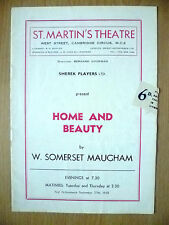 St. Martin's Theatre Programme 1950 - S Players's HOME AND BEAUTY by W S Maugham
