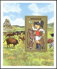 Mongolia 1985 Cattle/Cows/Girl/Calf/Farming/Food/Business/Commerce 1v m/s n17509