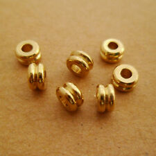 100pcs Raw Brass Geometry Rondelle Beads Spacers for Bracelets Necklaces 4x2mm