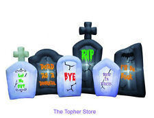 "96"" W HALLOWEEN TOMBSTONE FLASHING LIGHT ANIMATED GRAVEYARD INFLATABLE PORP DECO"