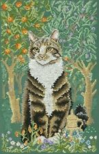 Lesley Anne Ivory Cats Gold Cross Stitch Kit 14 Count By Anchor 22 x 35cm