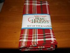 ASHLEY COOPER, CONERLY PLAID SET OF 4 NAPKINS, 100% COTTON, NIP