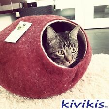 Cat cave bed,house from 100% wool for pet. Kivikis-Color  Burgundy Dark  Size M