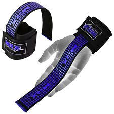 Weight Lifting Bar Straps Gym Bodybuilding Wrist Support Wraps Bandage BLACK/BLU