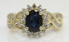 GORGEOUS 14K YELLOW GOLD RING WITH 1.50 CTW SAPPHIRE AND DIAMONDS! #N30