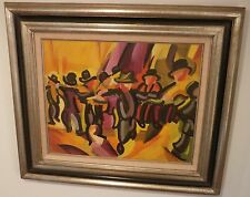 The Dance-A Horah Dance- Modernist Oil Painting-1960s-Israel Louis Winarsky