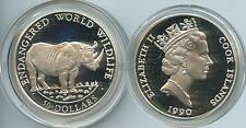 G3045 - Cook Islands 50 Dollars 1990 Nashorn KM#55 Silber World Wildlife Funds