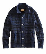 Lucky Brand - NWT $149 - Men's M - Blue Geometric Cotton Blend Cardigan Sweater