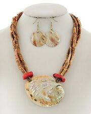 COASTAL - Beads, Horn and Abalone Shell Necklace and Earrings Set NWT 5669