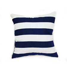 Navy Blue White Stripe Cotton Canvas Cushion Cover European Pillowcase 65x65cm