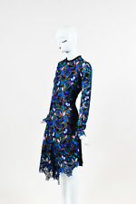 Self Portrait NWT Black Blue & Pink Guipere Lace Long Sleeve Floral Dress SZ 10