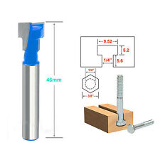3/8'' x 1/4'' Shank T-Slot Cutter Router Bit For Wood Perforation Drill Holes