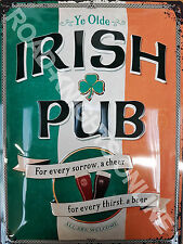 Irish Pub Bar Beer Guinness Stout Flag St Patricks Large 3D Metal Embossed Sign