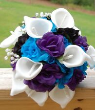 Wedding Silk Bridal Bridesmaid Bouquet white calla lily Purple Blue Black Rose