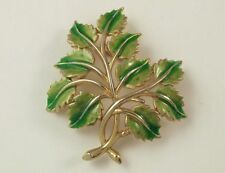 Vintage Trifari Enamel Leaf Brooch Pin Two Tone Green Leaves Crown Trifari Mark