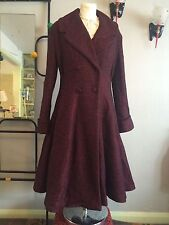 Ladies vintage 1940s/50s style fit and flare wool Coat in Mottled Burgundy