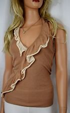 bebe Layered Ruffle Knit Brown and Ivory Sweater Halter Top Small