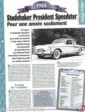 Studebaker President Speedster V8 1955 USA Car Auto Retro FICHE FRANCE